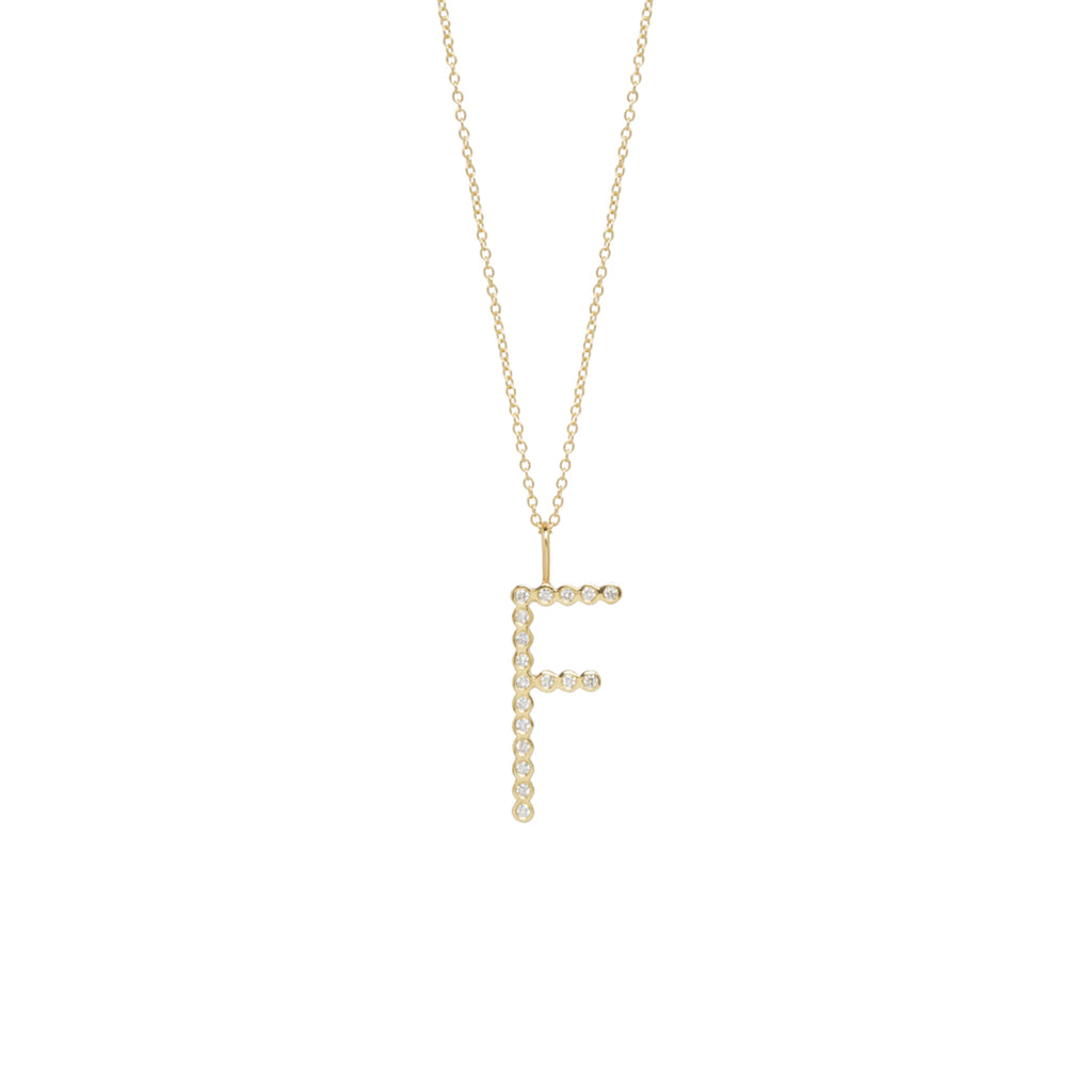 14k bezel diamond letter necklace