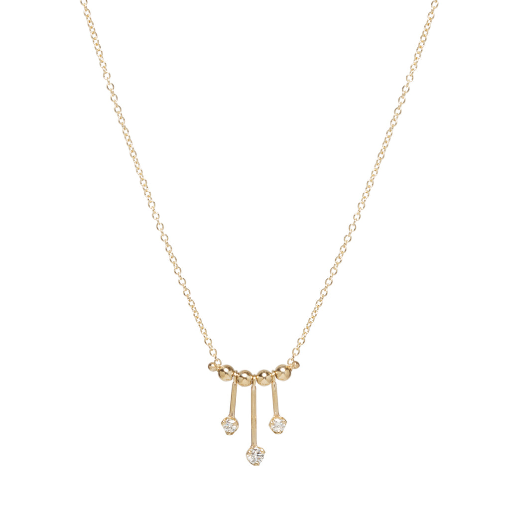 14k prong diamond bar bead necklace