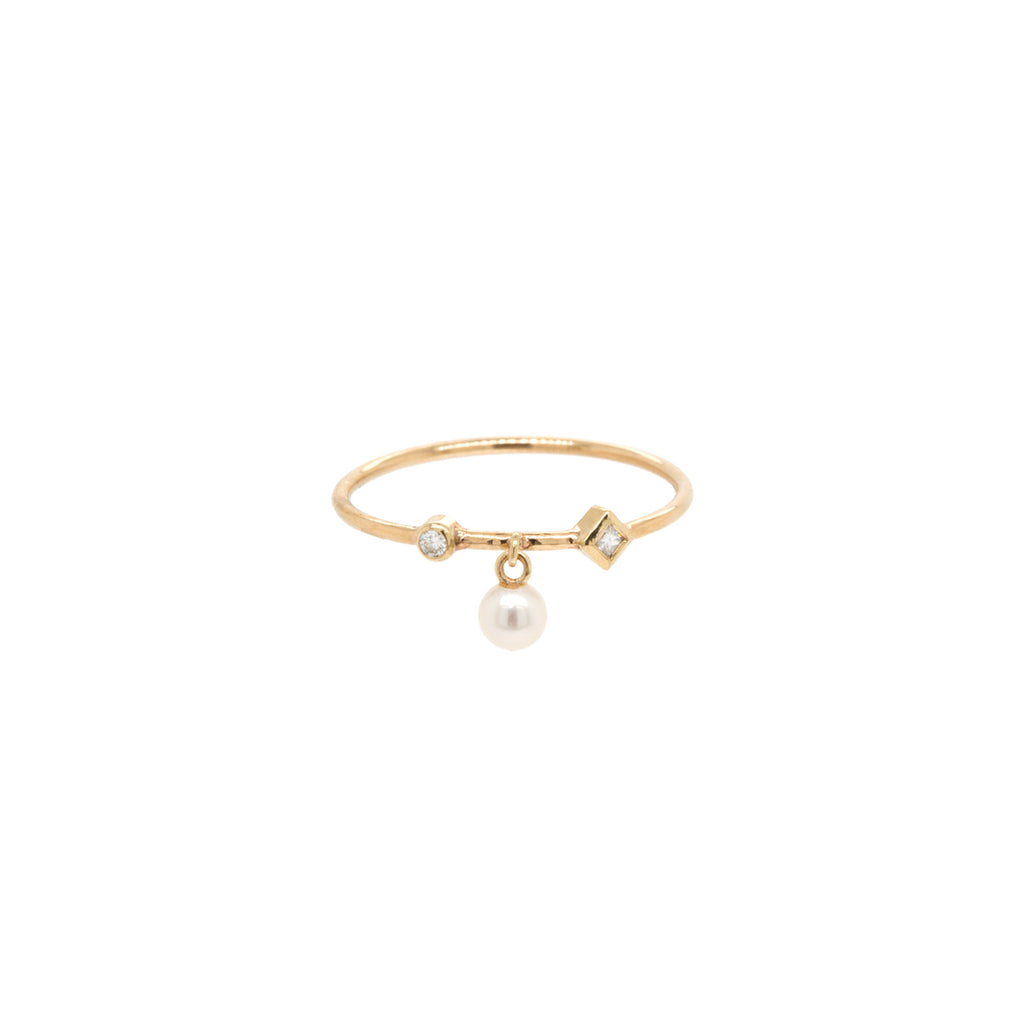 14k dangling tiny pearl and mixed diamond thin band ring
