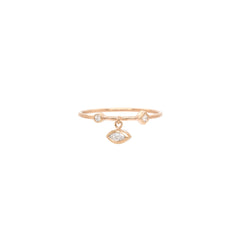 14k mixed dangling marquis diamond thin band ring