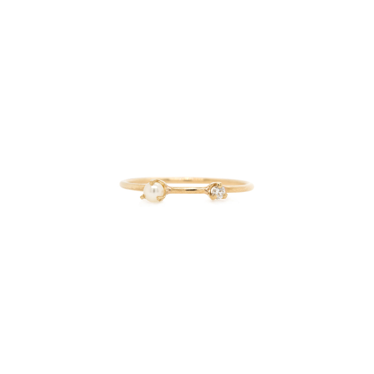 14k tiny pearl and diamond thin band ring