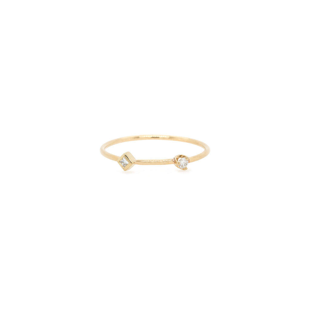 14k mixed diamond thin band ring