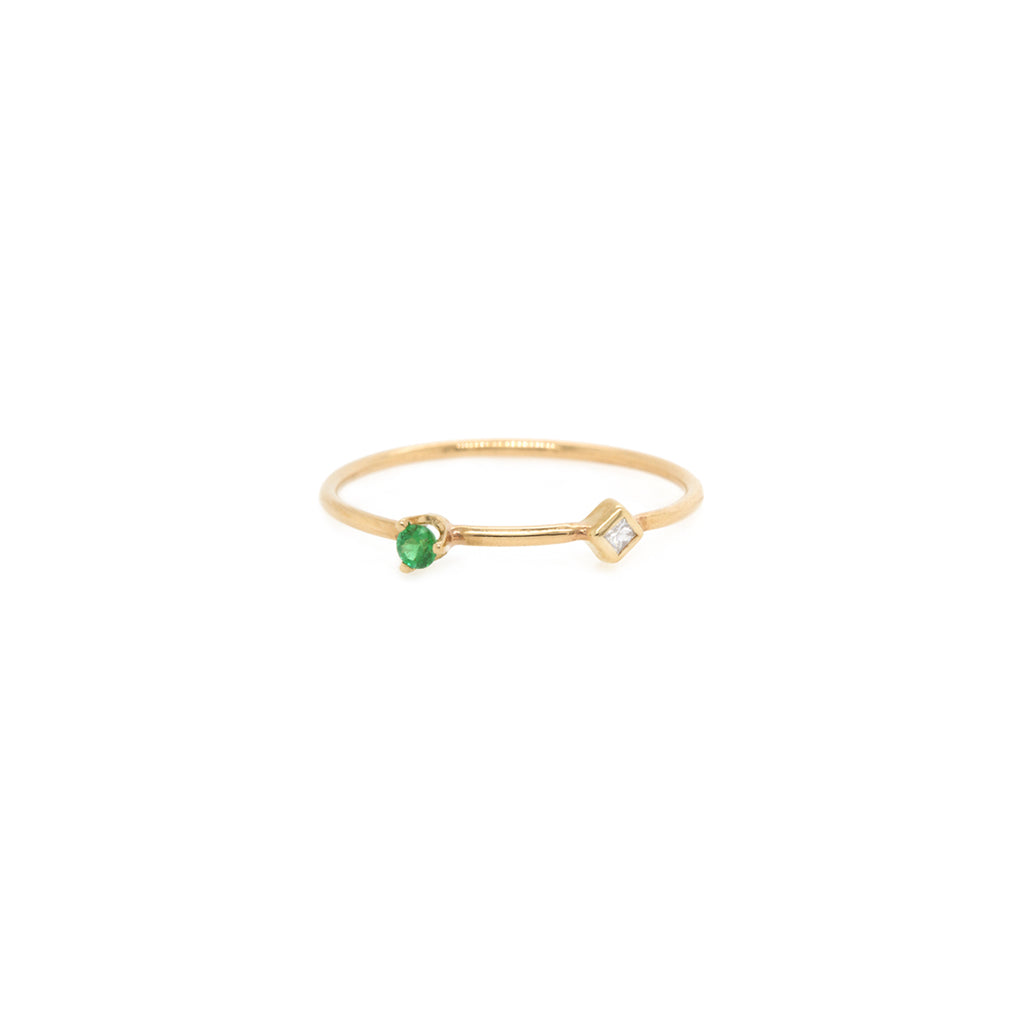 14k gold princess diamond and round emerald ring