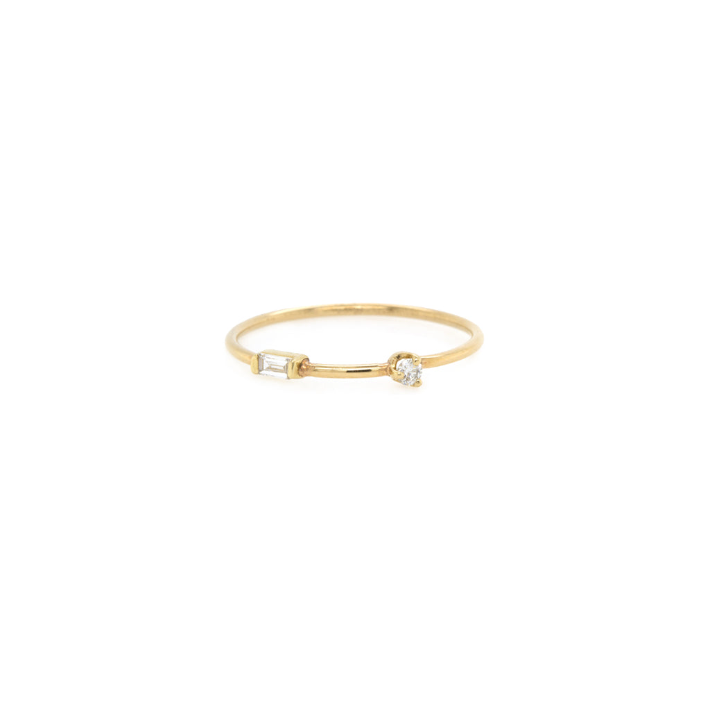 14k gold baguette and round diamond band ring