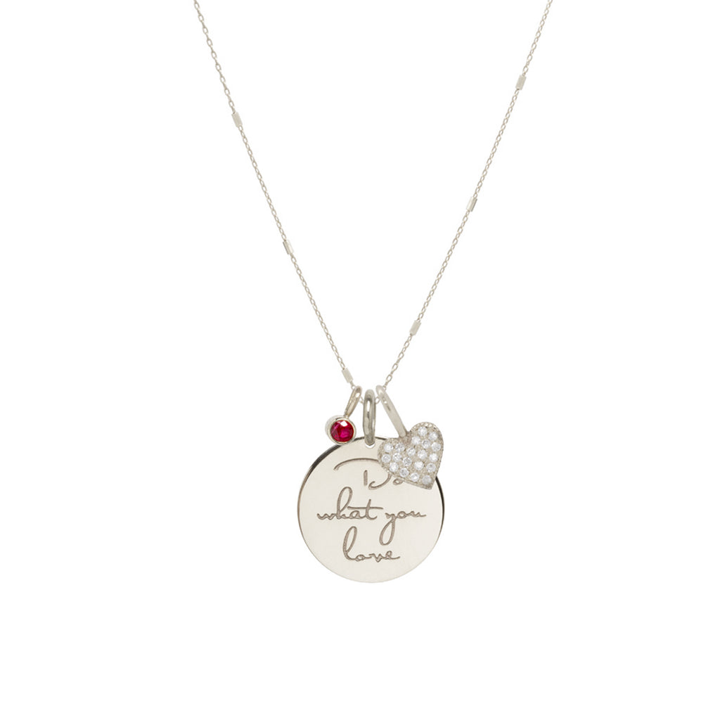 14k gold Do what you love Mantra charm necklace with heart and ruby
