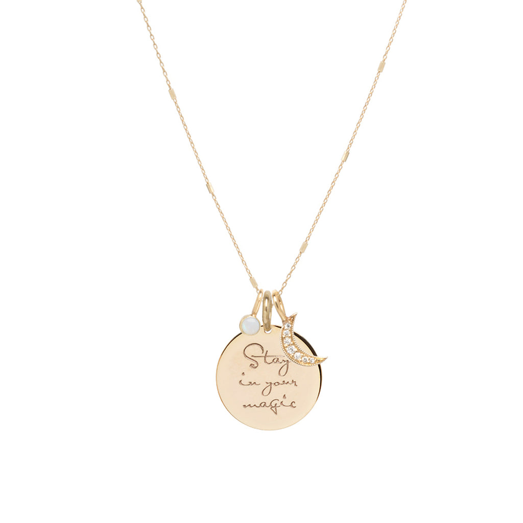 14k gold Stay in your magic Mantra charm necklace with moon and opal