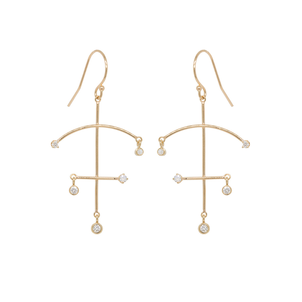 14k small bezel diamond mobile earrings