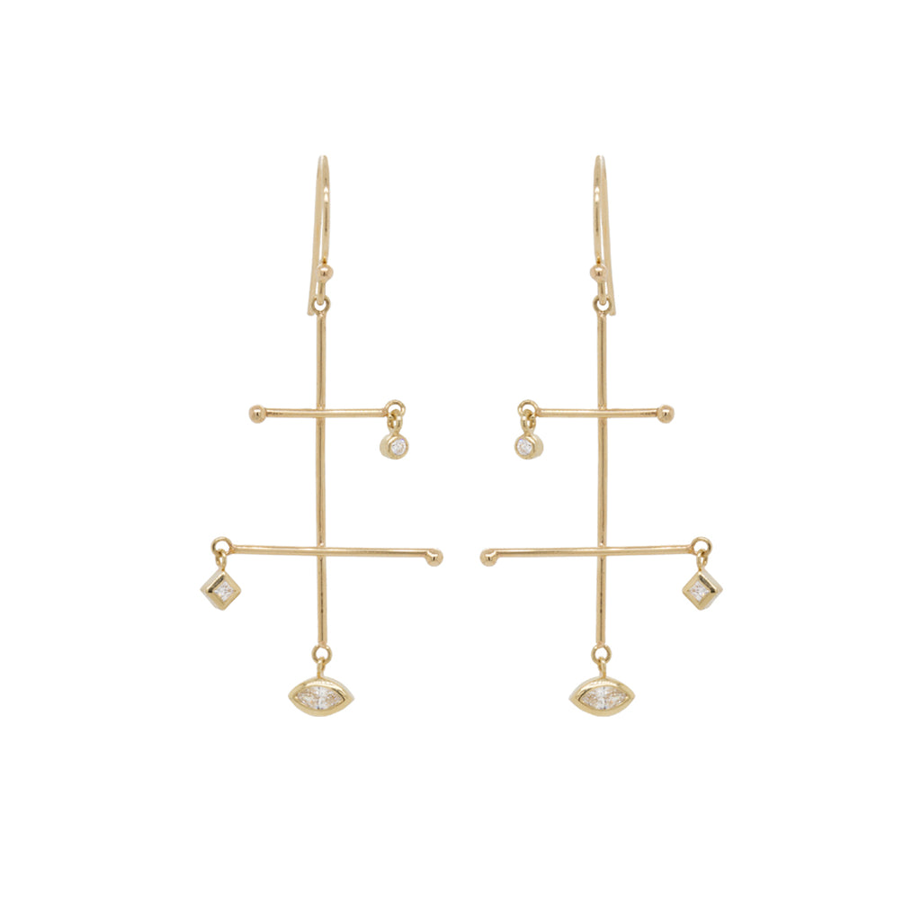 14k small mixed diamond mobile earrings