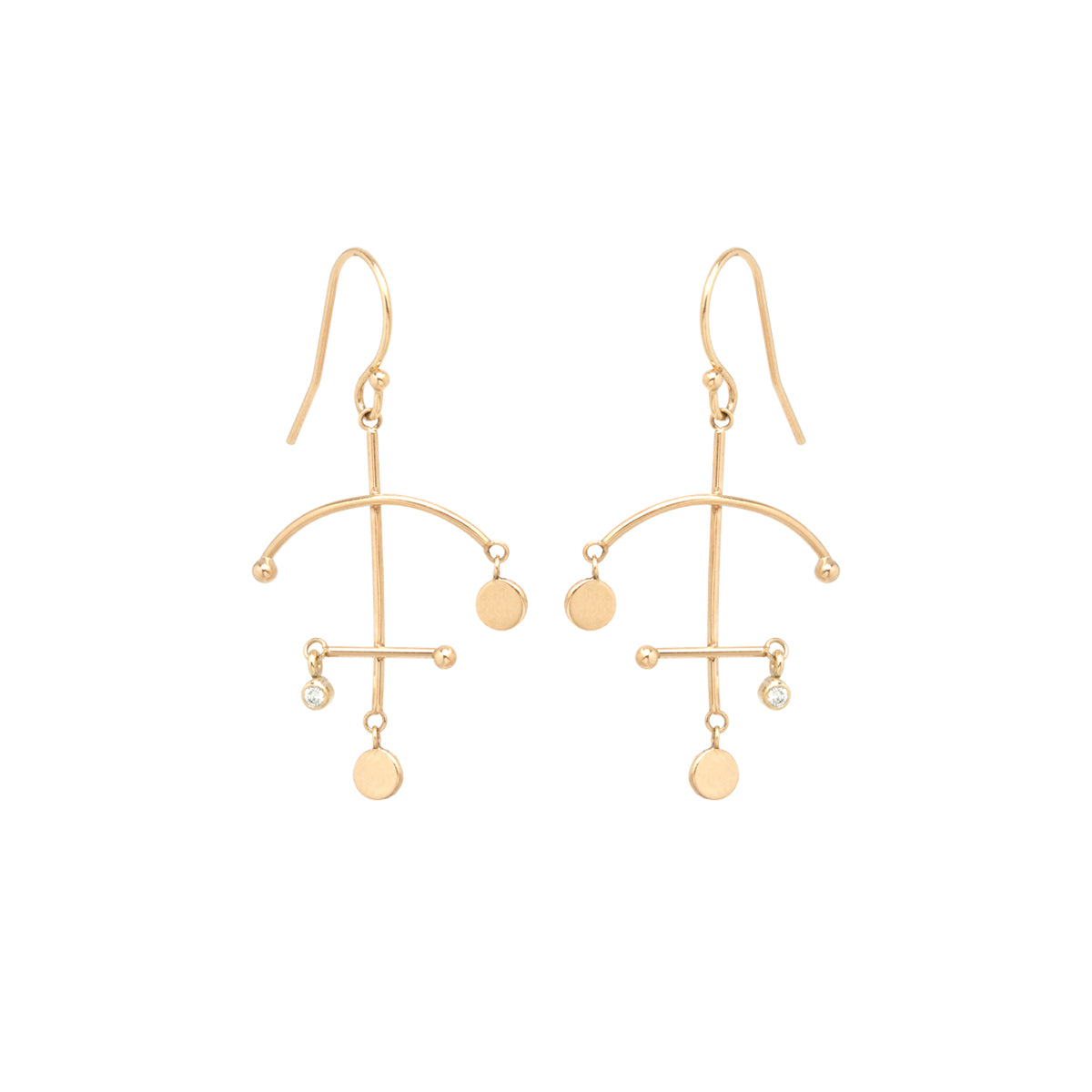 14k small gold disc and diamond mobile earrings