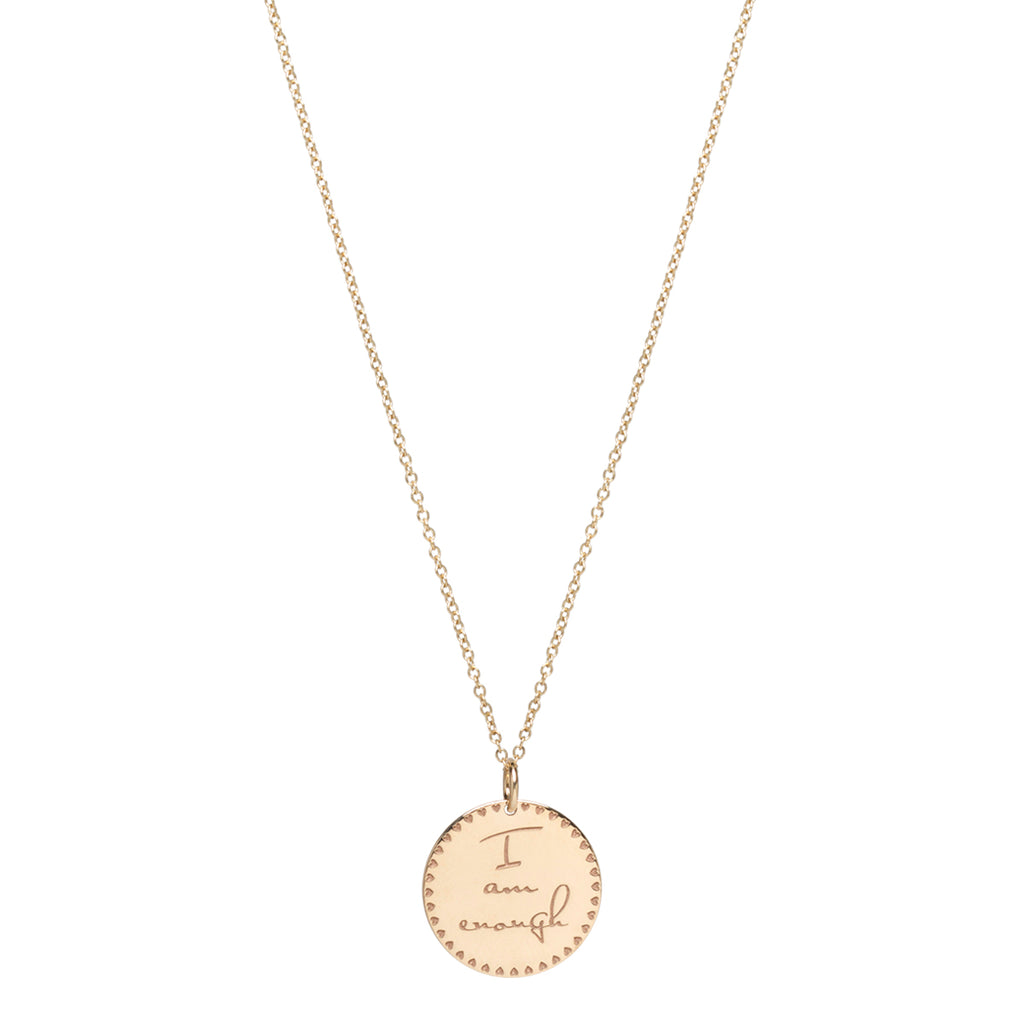 14k small mantra necklace