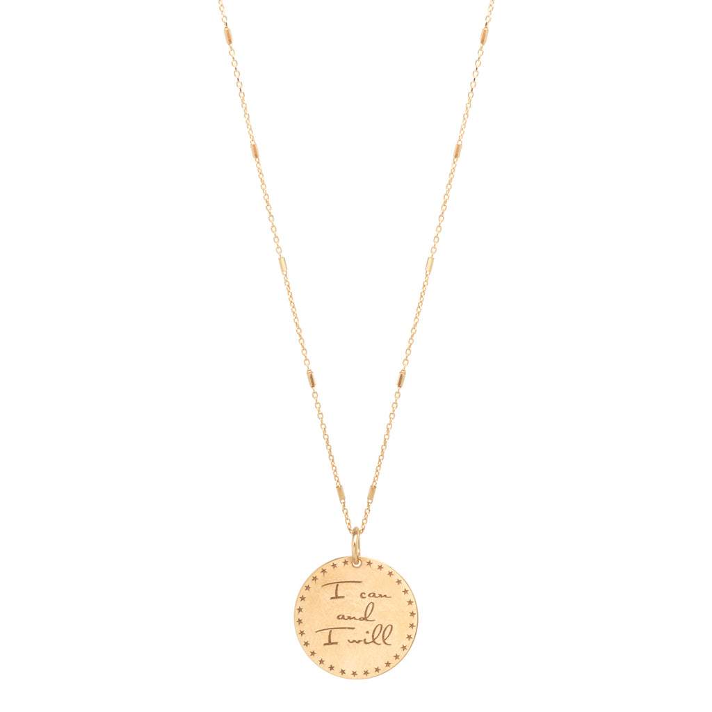 14k small mantra bar chain necklace