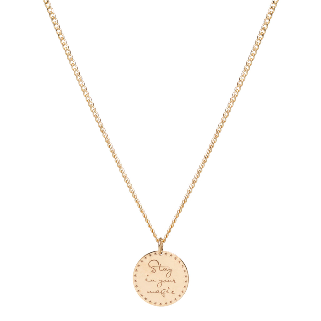 14k small mantra necklace on extra small curb chain