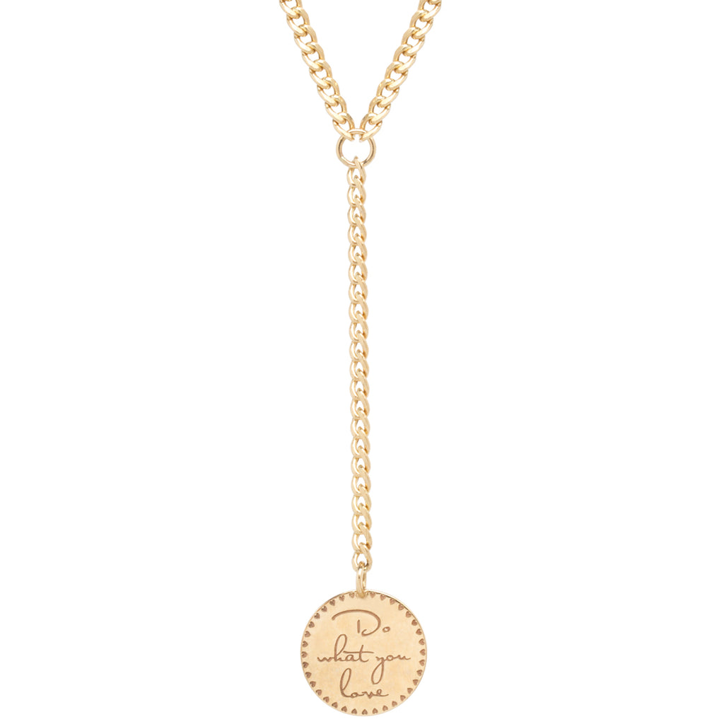 14k small mantra lariat necklace on small curb chain