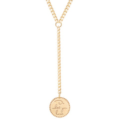 14k small mantra lariat necklace