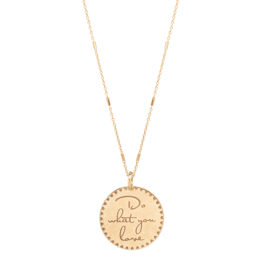 14k small mantra with heart border necklace on a tiny bar and cable chain
