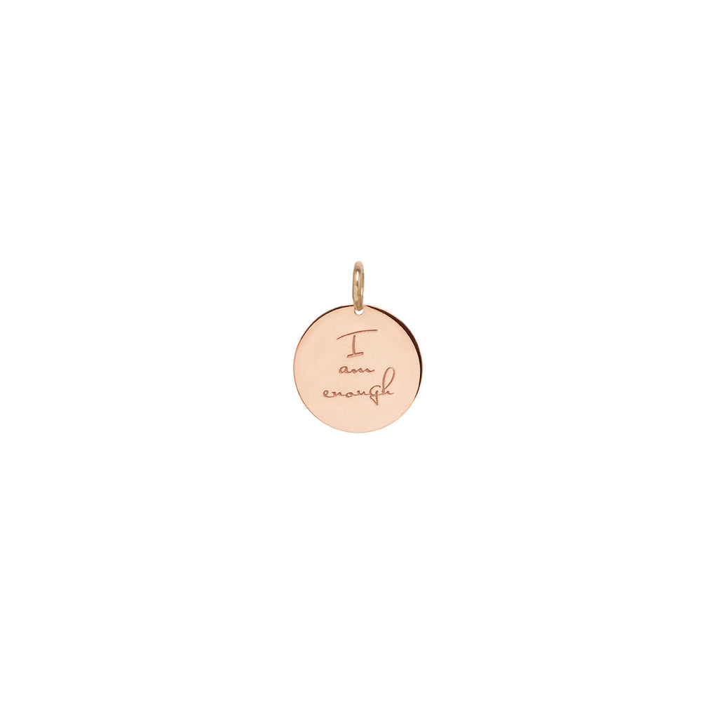 14k single small mantra medallion disc charm