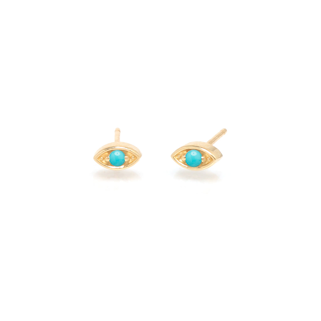14k small turquoise eye studs