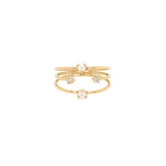 14k thin 3 band prong diamond and tiny pearl ring
