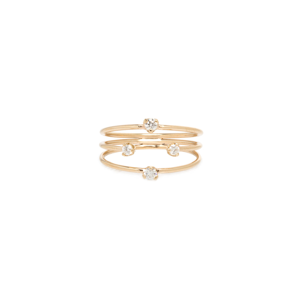 14k thin 3 band prong diamond ring