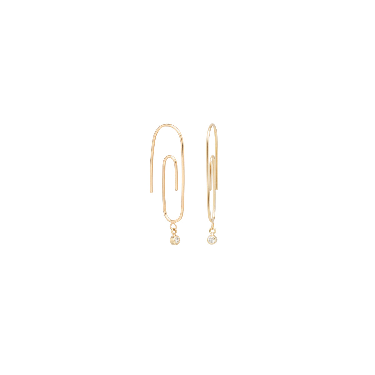 14k small paperclip dangling diamond hoops