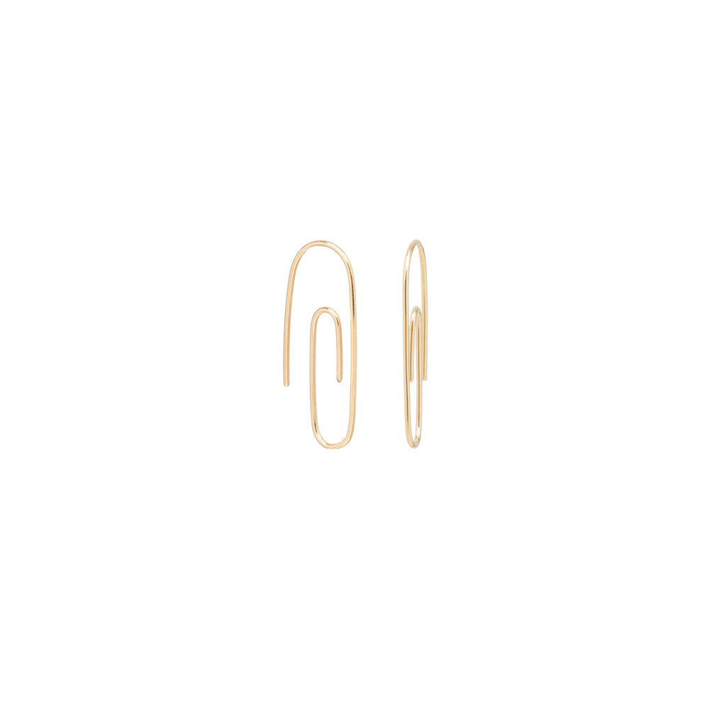 14k small paperclip hoops