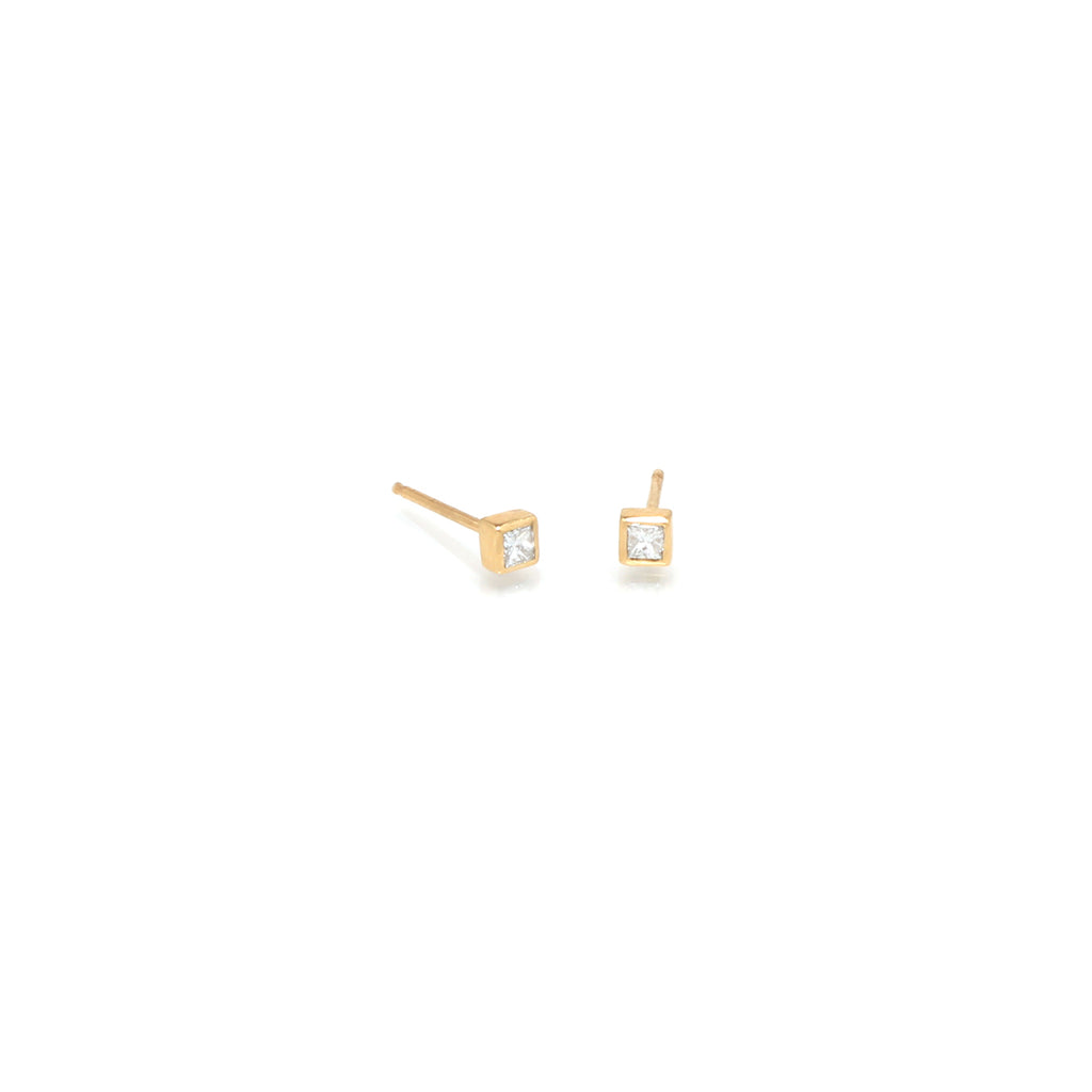 14k small princess diamond studs
