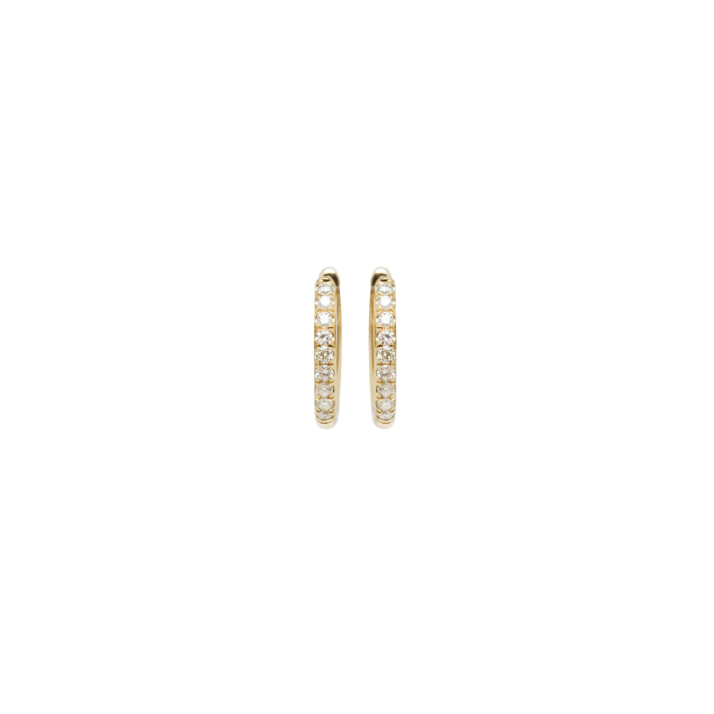 14k small pave diamond hinge huggie hoops