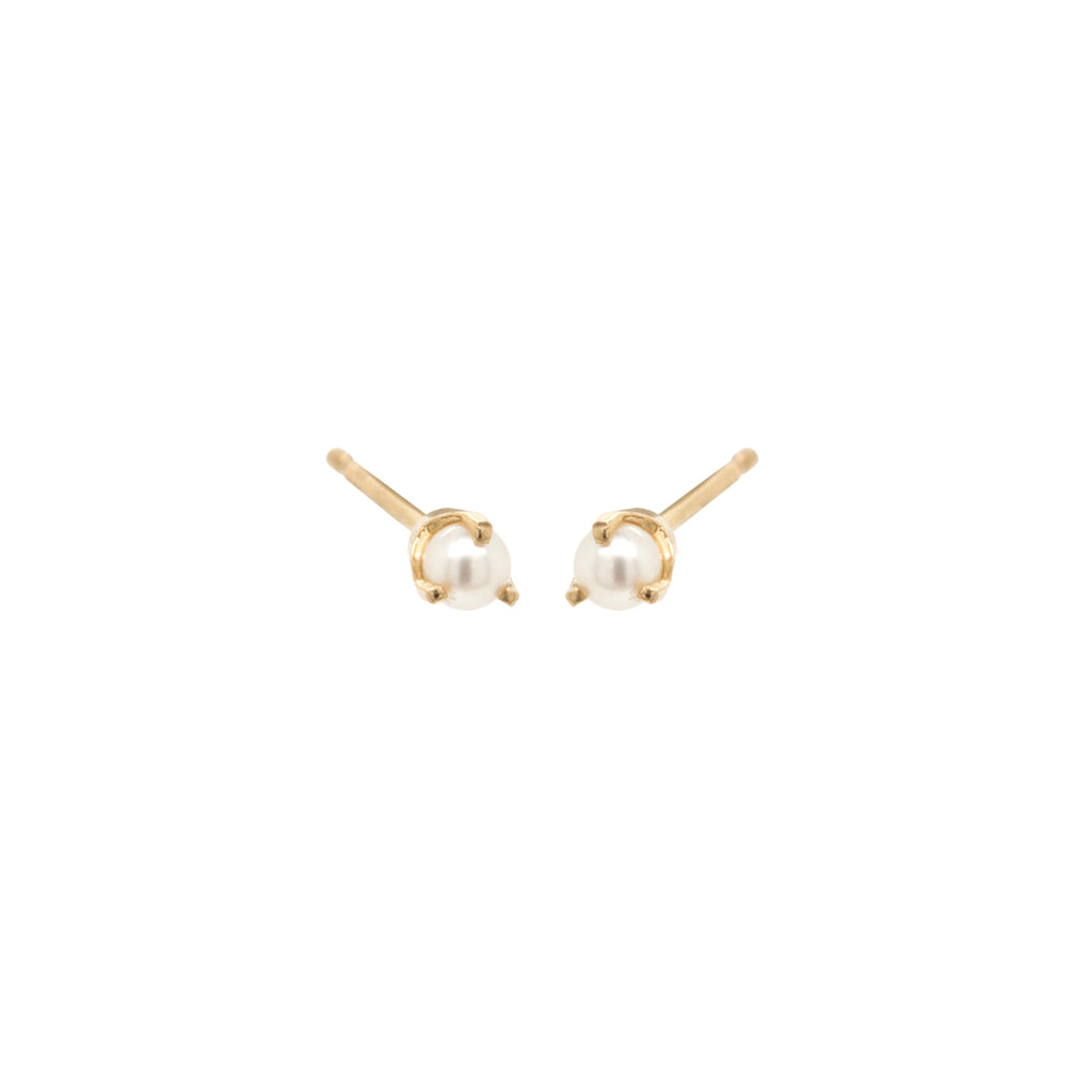 14k prong set tiny pearl studs | JUNE BIRTHSTONE