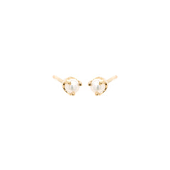 14k prong set small pearl studs