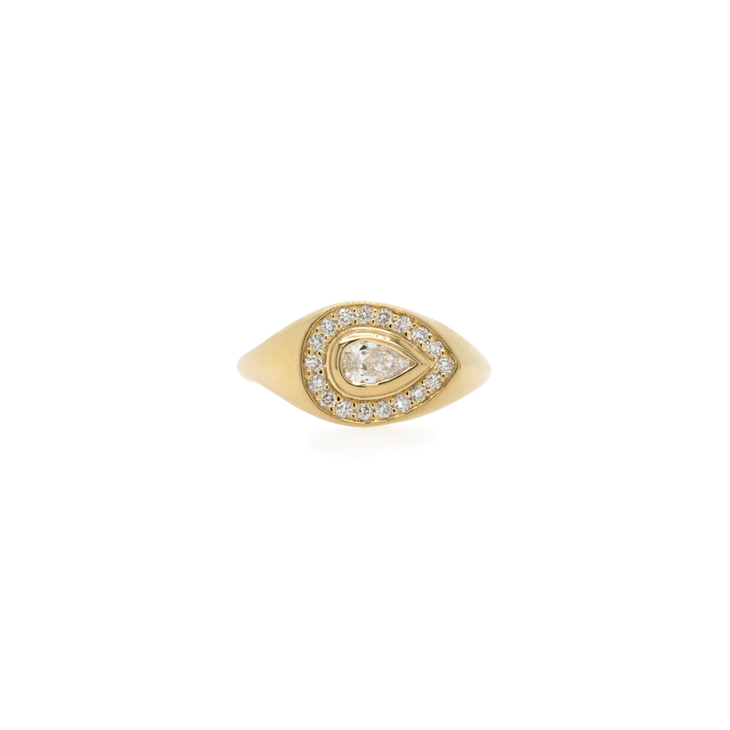 14k pave and pear diamond signet ring