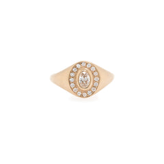 14k oval signet ring with pave halo