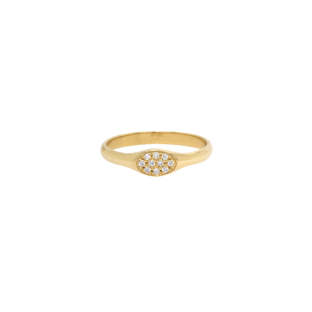 14k oval pave diamond signet ring