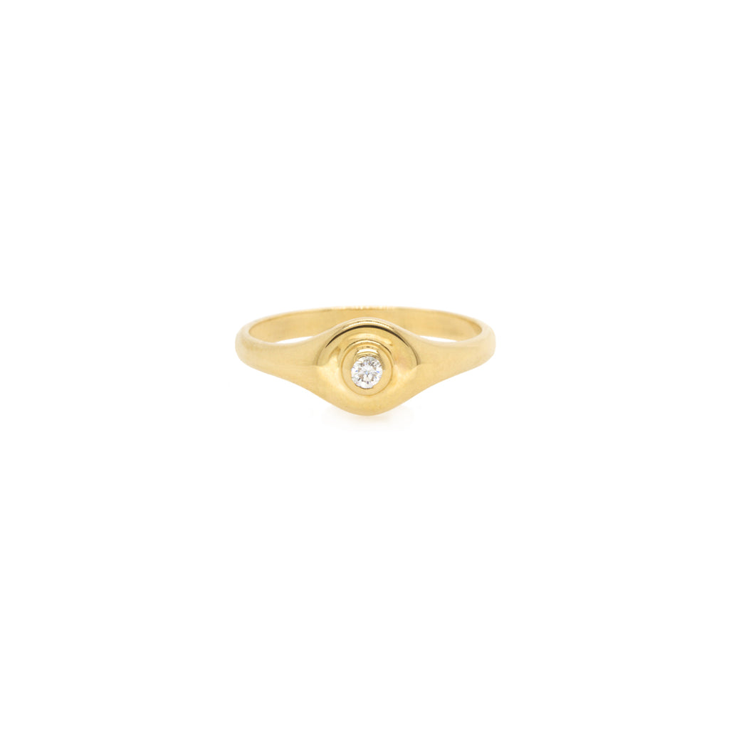 14k round signet ring with bezel diamond