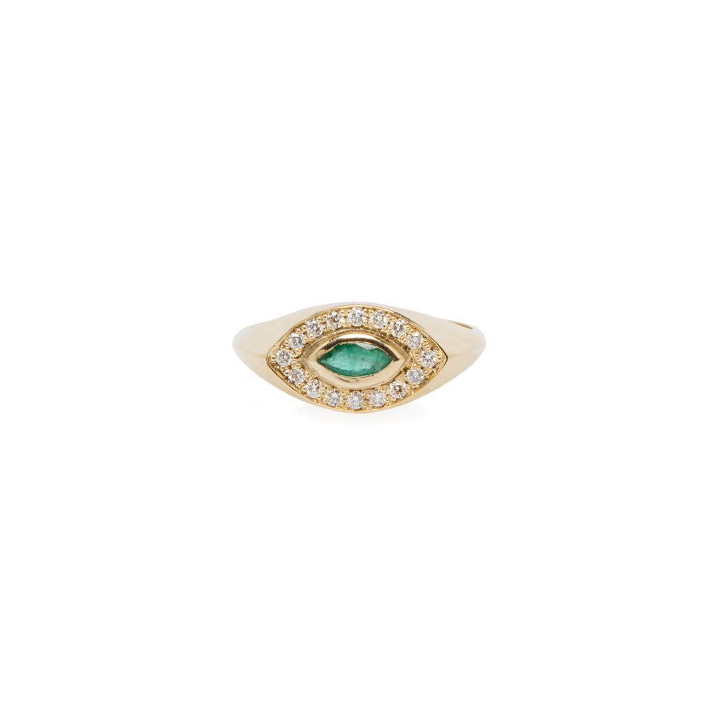 14k pave diamond and marquise emerald signet ring