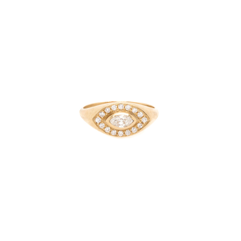 14k pave and marquise diamond signet ring