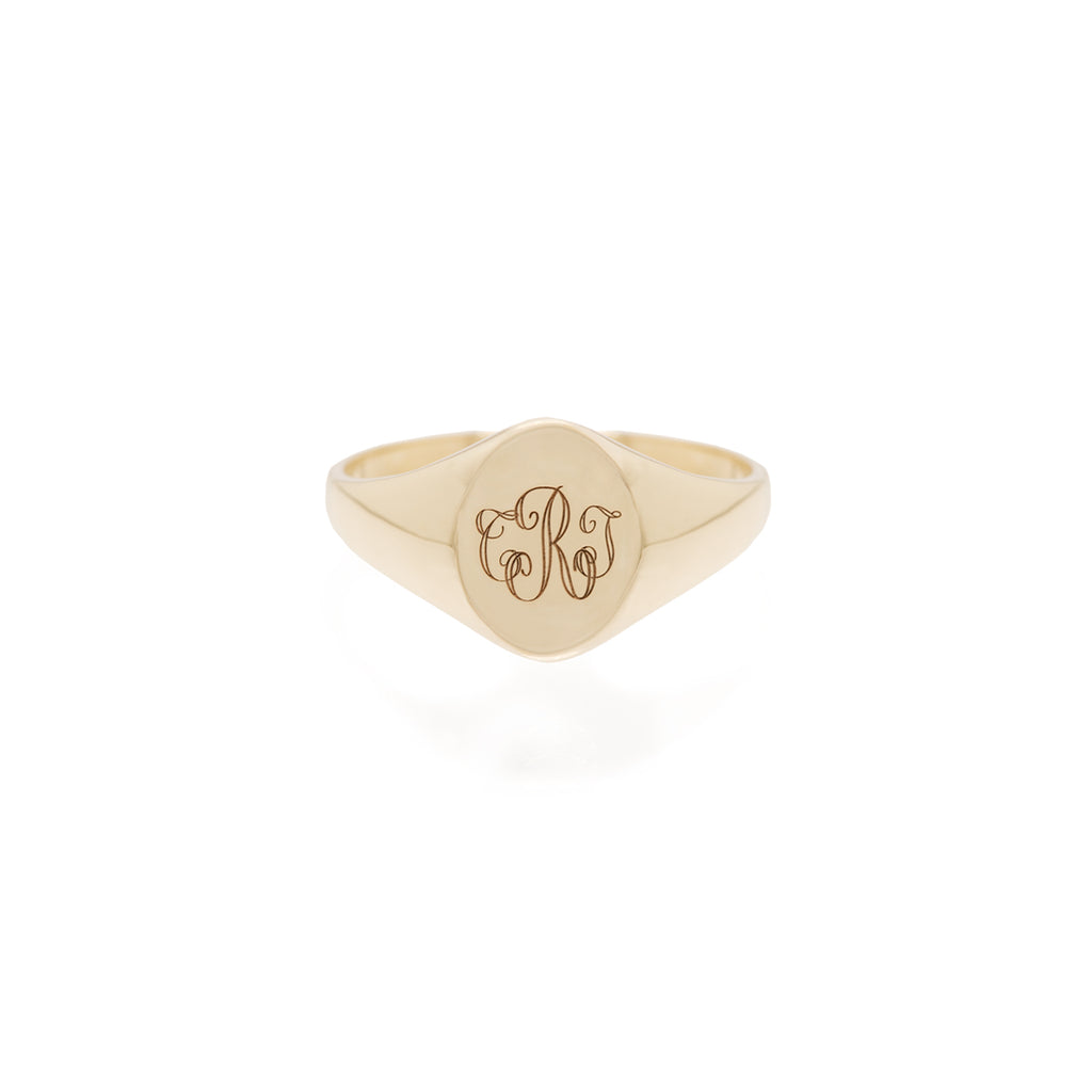 14k engraved monogram signet ring