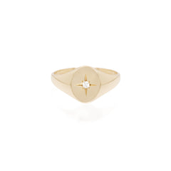 14k star set diamond signet ring