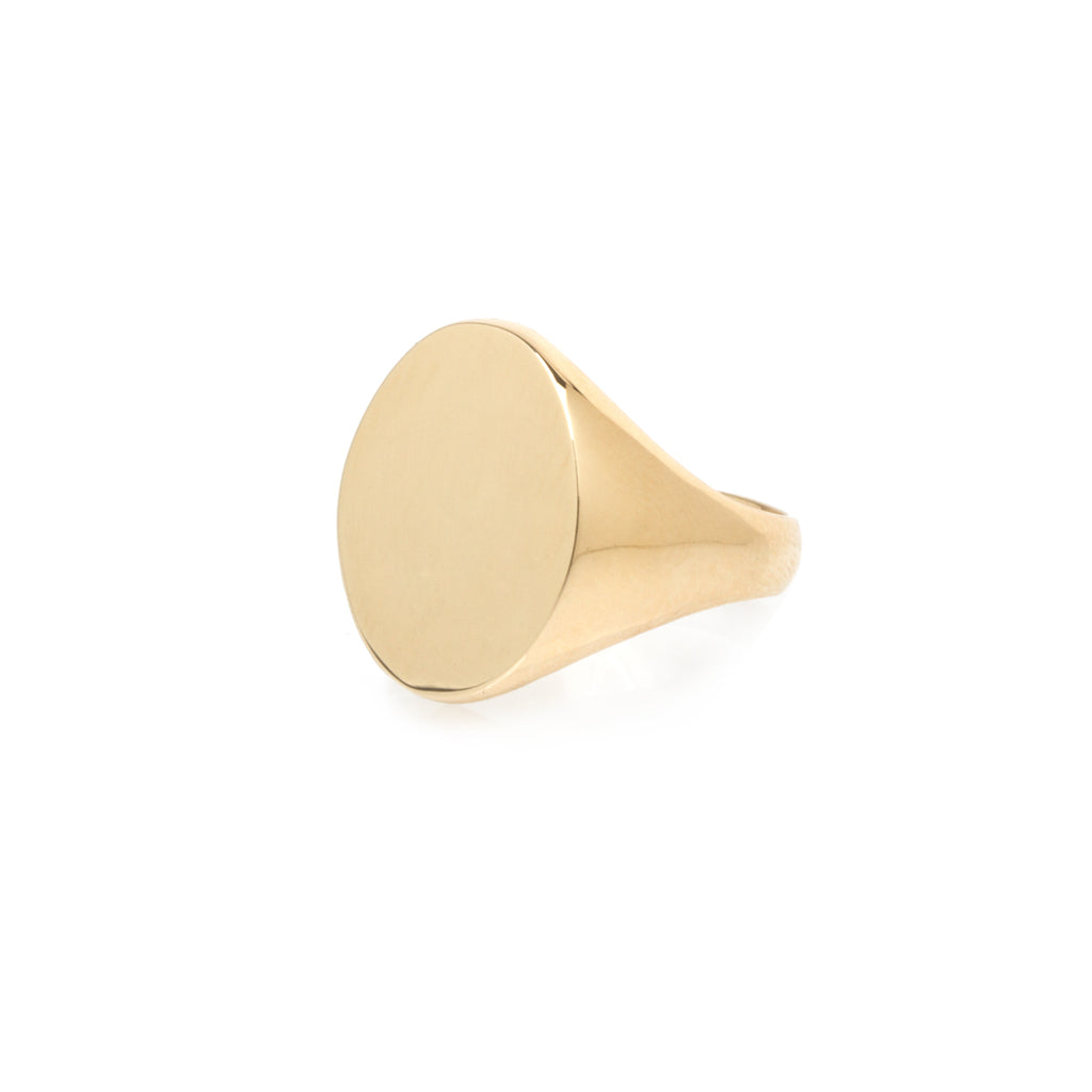 14k large oval signet ring
