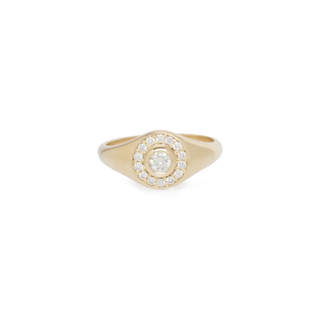 14k round signet ring with pave halo