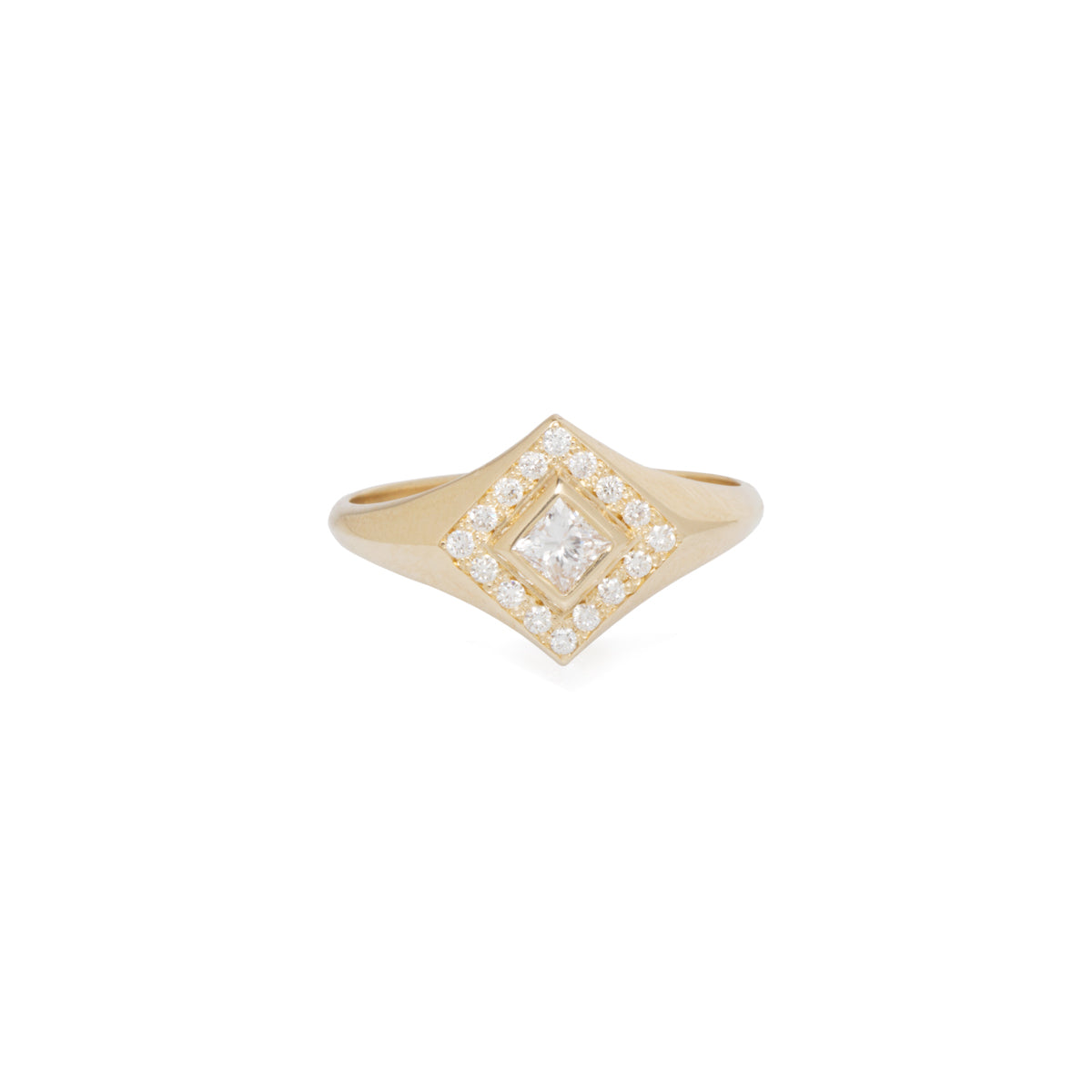 14k princess signet ring with pave halo