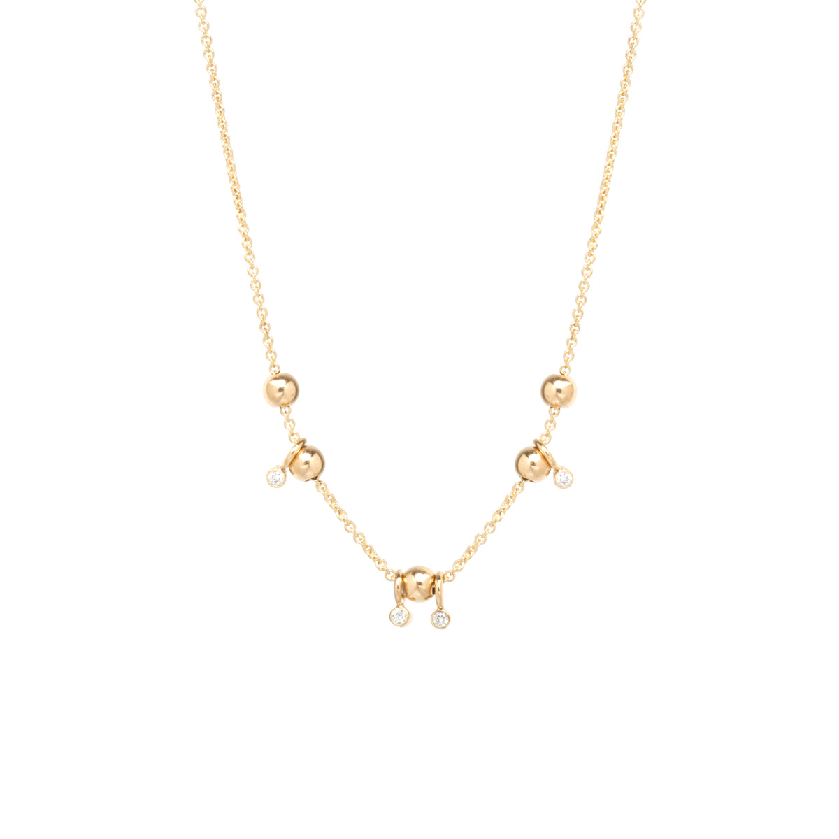 14k gold 5 sliding bead and diamond adjustable necklace