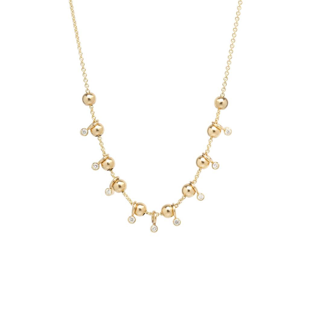 14k gold sliding bead and diamond adjustable necklace