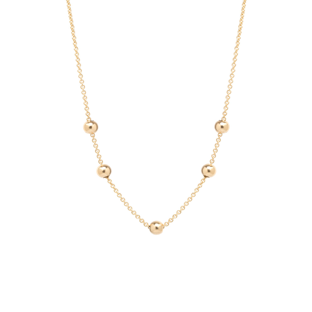 14k long chain necklace with 5 adjustable beads