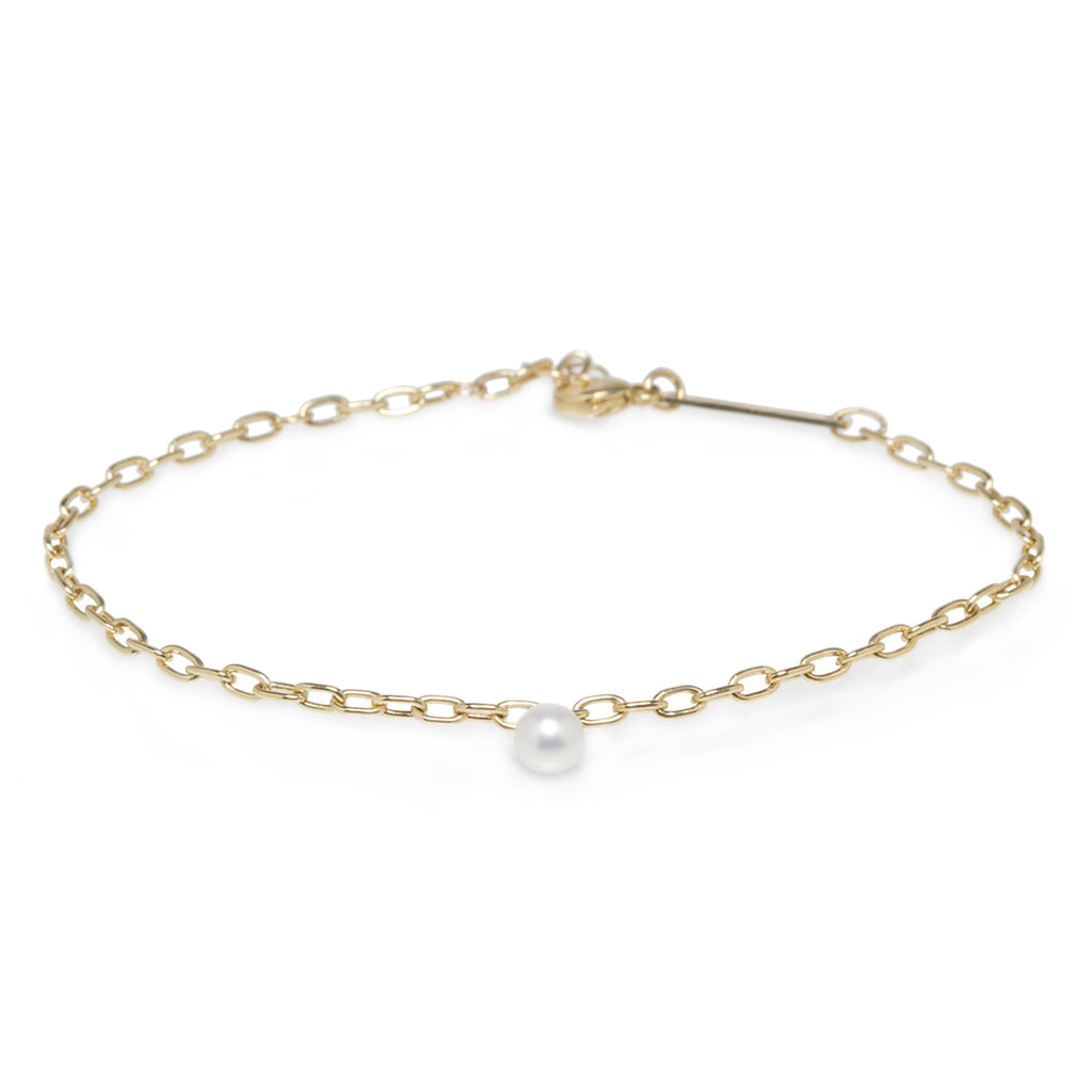 14k small oval link white pearl dangle bracelet