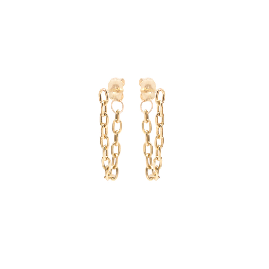 14k small square oval link chain hoop earrings