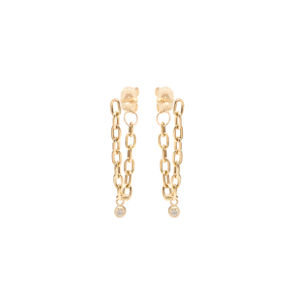 14k small square oval link chain hoop earrings with dangling bezel diamonds