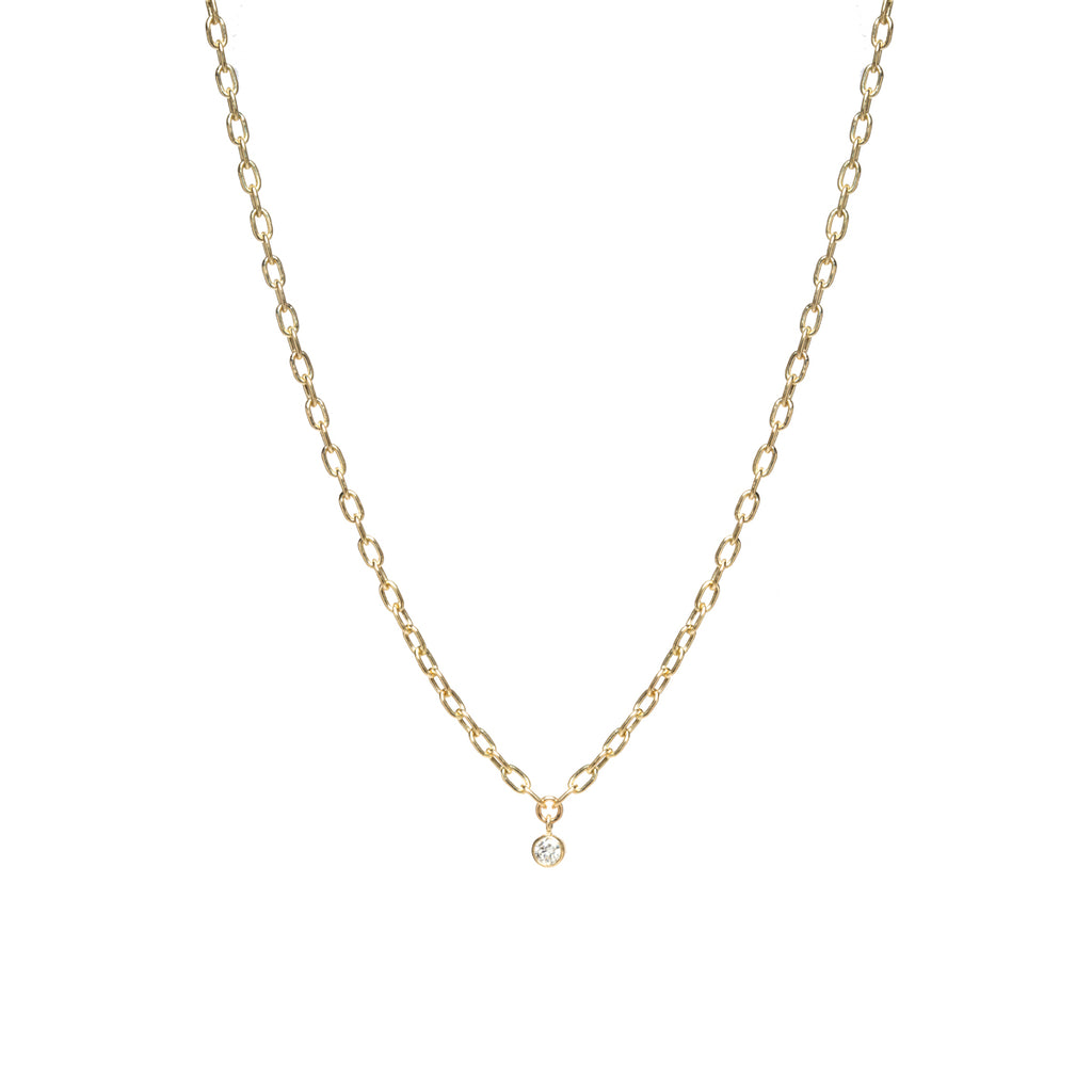 14k small square oval link necklace with dangling bezel set diamond