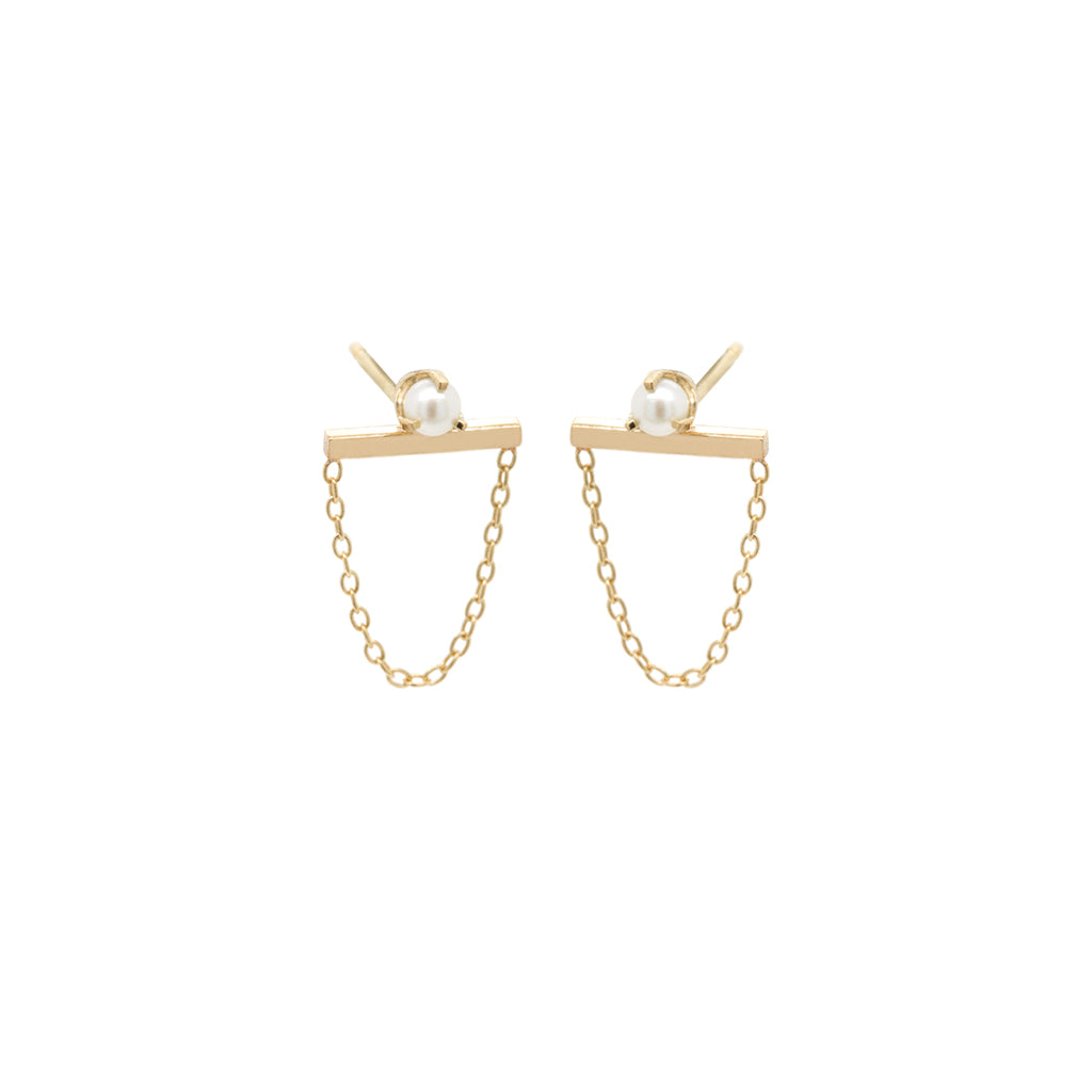 14k  tiny pearl bar chain studs