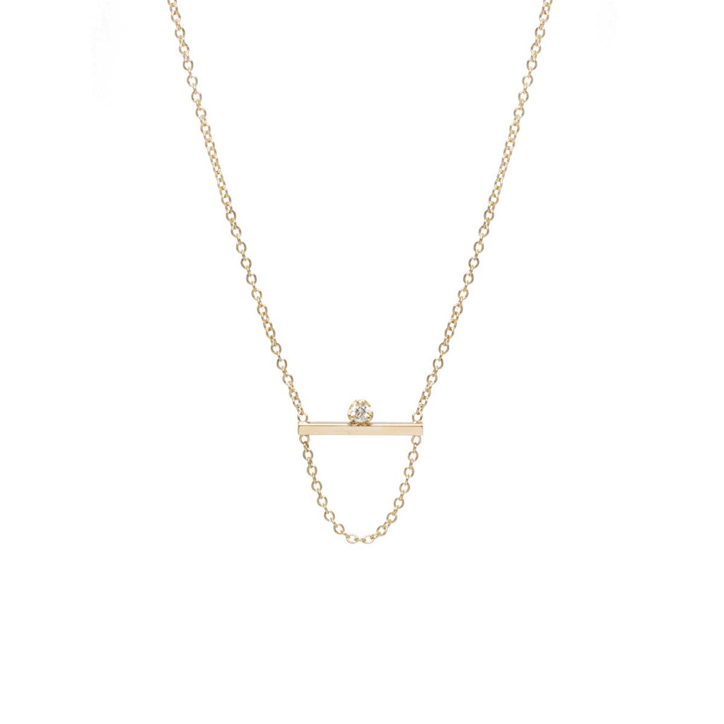 14k prong diamond bar chain necklace