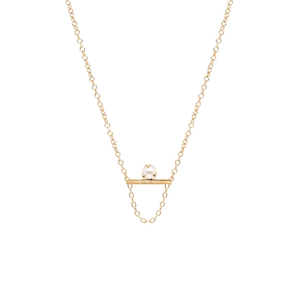 14k tiny pearl bar chain necklace